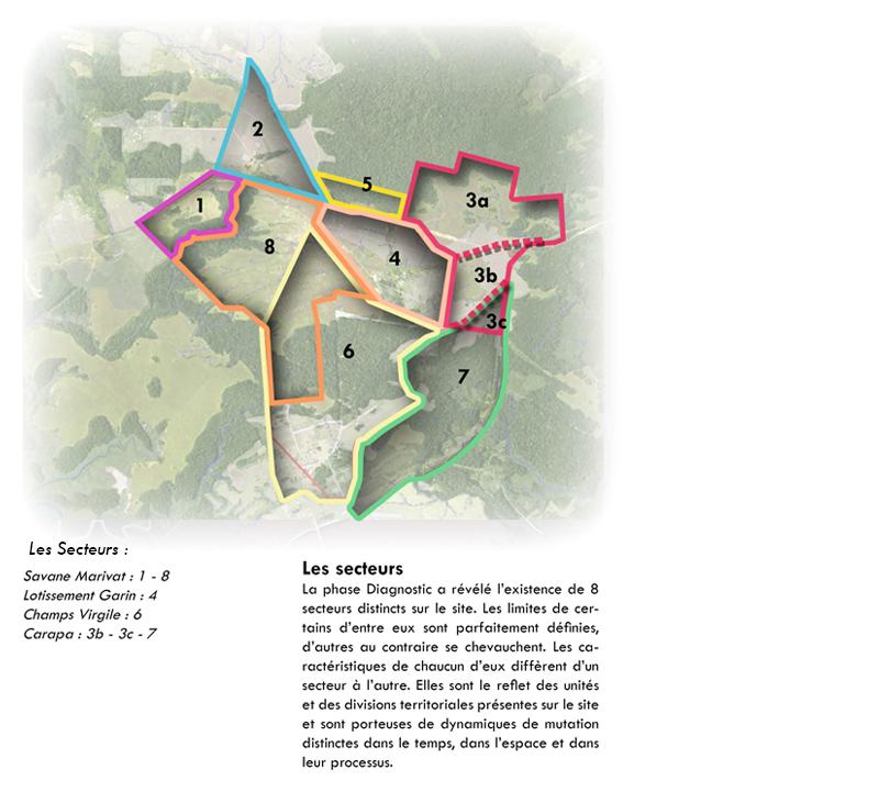 DU_Savane Marivat Champs Virgile La Carapa Etude urbaine a Montsinery en Guyane_les secteurs