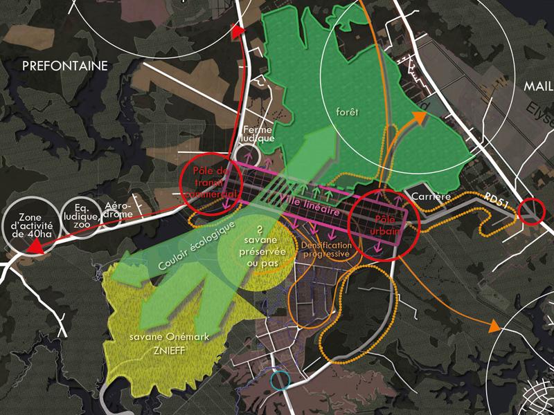 DU_Savane Marivat Champs Virgile La Carapa Etude urbaine a Montsinery en Guyane_plan stratégique zoom