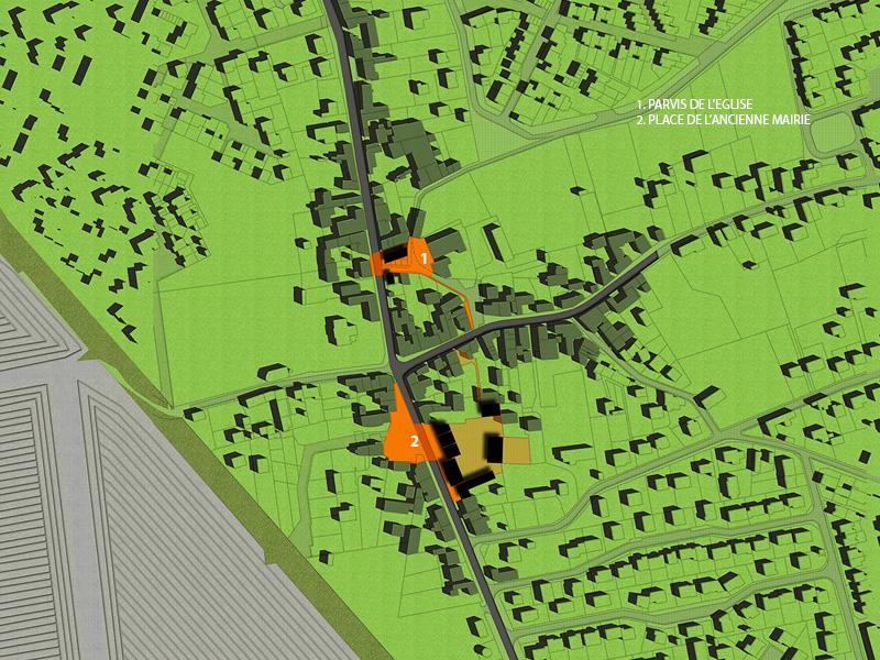 Bourg de Lisses Etude de deux places publiques_plan masse