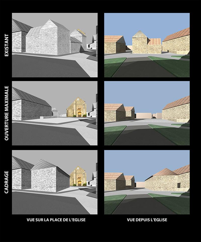 Bourg de Lisses Etude de deux places publiques_visualisation 3D