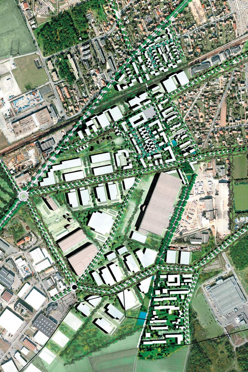 DU_Les Mureaux Etude urbaine_plan masse inseré zoom