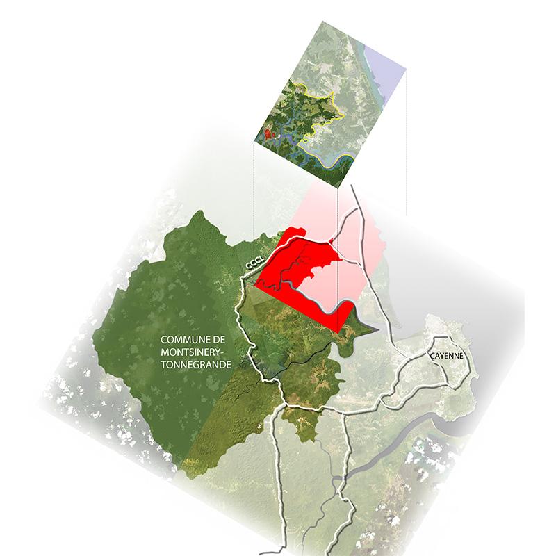 Montsinery Maitrise d'oeuvre urbaine en Guyane_localisation par rapport a Cayenne